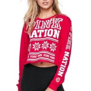 Cropped pink nation top